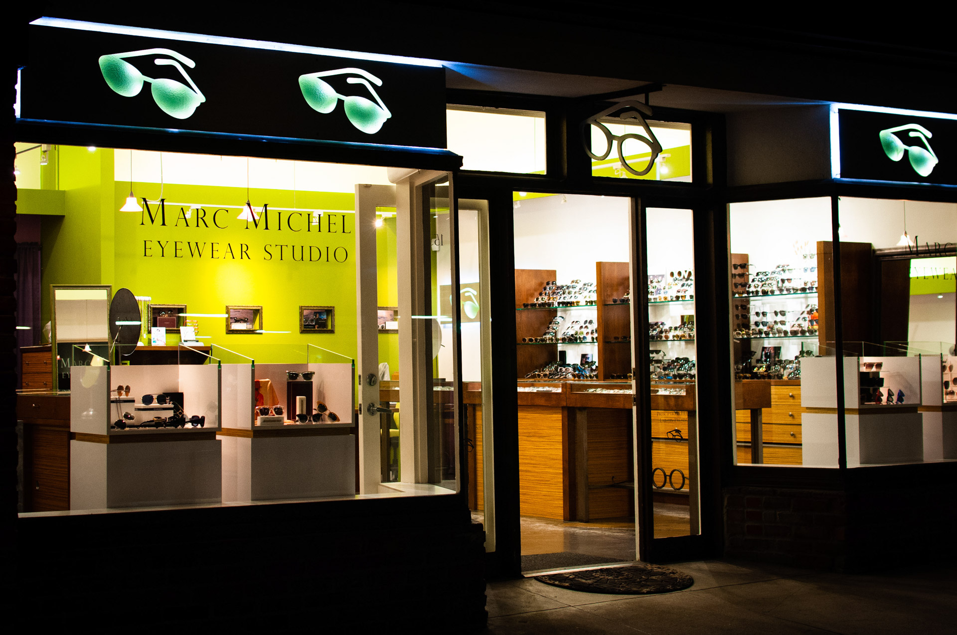 Marc Michel Eyewear store exterior night